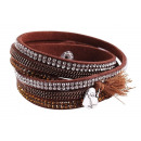 wholesale Artificial Flowers: Wrap bracelet made of textile and metal, color: 6