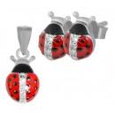 925 silver ladybug set earrings pendant with