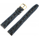 Basic genuine leather bracelet in dark blue, croco