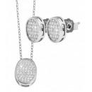 925 Silber Schmuckset mit Kette (42+3cm) und Ohrri