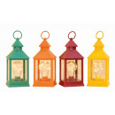 nagyker Kályhák, kandallók: Lámpás LED izzóval h = 24cm (színes), 4-szeres sor