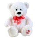 """hurtownia Zabawki pluszowe & lalki: Niedźwiedź siedzący biały z kokardką """"Kocham ..."""