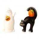 Fantasma de Halloween y gato h = 17,5cm b = 9-11cm