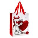 groothandel Stationery & Gifts: Geschenktasje Eland met hart met glitter 18x23x1