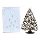 groothandel Woondecoratie: Kerstboom van hout h=38,2cm, zwart/goud met