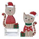 Décoration de Noël en bois chat avec bonnet de Noe