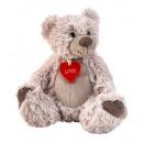 Großhandel Puppen & Plüsch: Bär sitzend mit kleinem Herz h=22cm