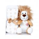 Peluche leone h=24cm con coperta in pile 90x75cm