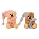 Großhandel Spielwaren: Schlafbärchen rosa & blau sitzend h=20cm, 2-fach s