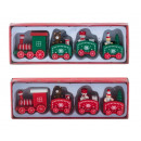 wholesale Decoration: Christmas train red and green made of wood l = 20c