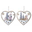 Décoration coeur de Noël en bois à accrocher l = 1