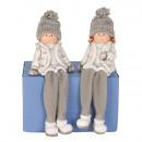 Téli gyerekek kupakkal és lógó lábakkal h = 16cm,