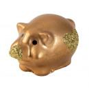 Großhandel KFZ-Zubehör: Schwein gold mit Glitzerherz l=4,5cm