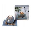 Teelichthalter mit Herzdeko & Dekosteinen 16x16cm