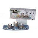 Teelichthalter-Set mit Herzdeko 34x13cm