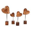 Houten harten met stok en houten voet om te plaats