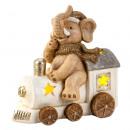 Großhandel Sonstige: Winter-Elefant auf Lok mit LED-Licht h=33cm l=33cm