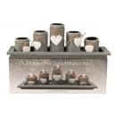 Teelichthalter-Set 5 Halter mit Platte 38x13cm