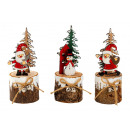 grossiste Décoration: Décoration de Noël sur tronc en bois h = 15,5 cm,