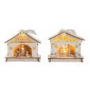 Maison en bois avec décoration de Noël h = 17cm l