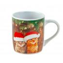 wholesale Household & Kitchen: Mug Christmas cats h = 9cm d = 8.2cm