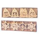 Xmas-Holz-Deko zum Hängen h=7,5-8cm in Box, 8-fach