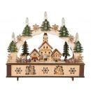 groothandel Woondecoratie: Kerst kaarsenboog met huizen & LED h = 28cm b