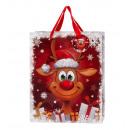 Sacchetto regalo di Natale funny reindeer 26x32x