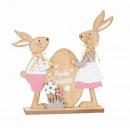 Holz Osterhasen mit Ei Frohe Ostern h=23,5cm