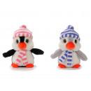 Pingüino de felpa con gorro y bufanda, 20 cm