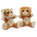 Großhandel Spielwaren: Löwe und Tiger aus Plüsch, 16 cm