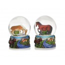 wholesale Gifts & Stationery: Snow Glitter Ball Horse 9 cm