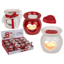 wholesale Fragrance Lamps: Aroma lamp with scented melt (rose) heart,