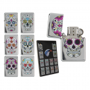 wholesale Lighters: Petrol- Lighter , Colored Skull, 6- times assorted