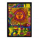 Großhandel Outdoor & Camping: Handgebürstete Baumwollwandkunst - Sonne