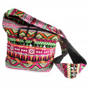 wholesale Handbags: Jacquard Bag - Pink Student Back