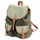 Traveller Rucksack - 2 Pocket Olive Stripe