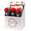 Scatola di 6 fiori di sapone - grande rosa bouque