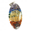 wholesale Pendant: Orgonite Power Pendant - 7 Stone Chakra Oval with