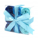 wholesale Shower & Bath: Set of 9 Soap Flowers - Blue Wedding Roses