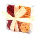 wholesale Shower & Bath: Set of 9 Soap Flower Box - Peach Roses