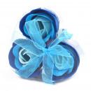 Set of 3 Soap Flower Heart Box - Blue Wedding Rose