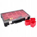 Hand-held organizer, 12 boxes, suitcase