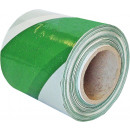 Eenzijdige waarschuwingstape groen-wit 100m