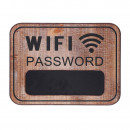 Wooden wall panel with wifi theme and blackboard
