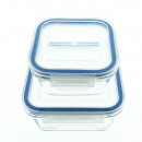 Set of 2 food storage containers made of glass wit