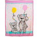 wholesale Dolls &Plush: Ecolle Baby blanket with bear motif, pink, 110 x 1