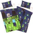 Minecraft Bettbezug - Creeps Blau