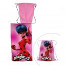 Telo mare Miraculous Ladybug con sacca da bagno