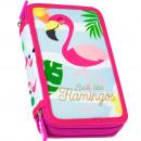 nagyker Ajándékok és papíráruk: Töltött ceruzatartó 3 cipzáras Flamingóval